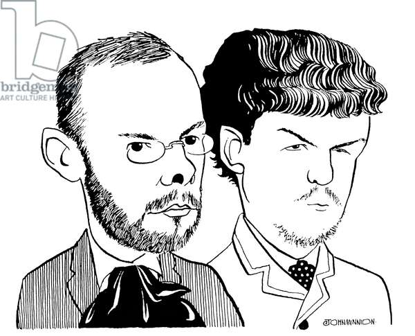 Bela Bartok (left) caricatured with young Claude Debussy, by John Minnion