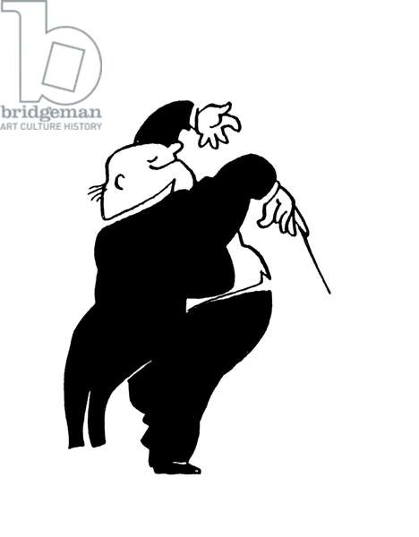 Conductor  using baton - caricature by John Minnion