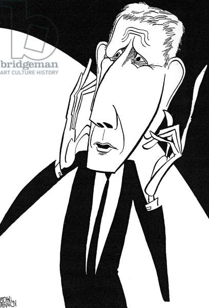 Jonathan Miller, caricature by John Minnion