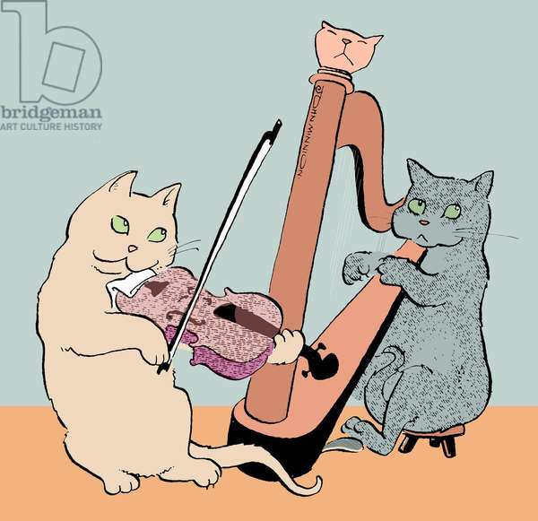 Caricature of two cats playing the harp and viola