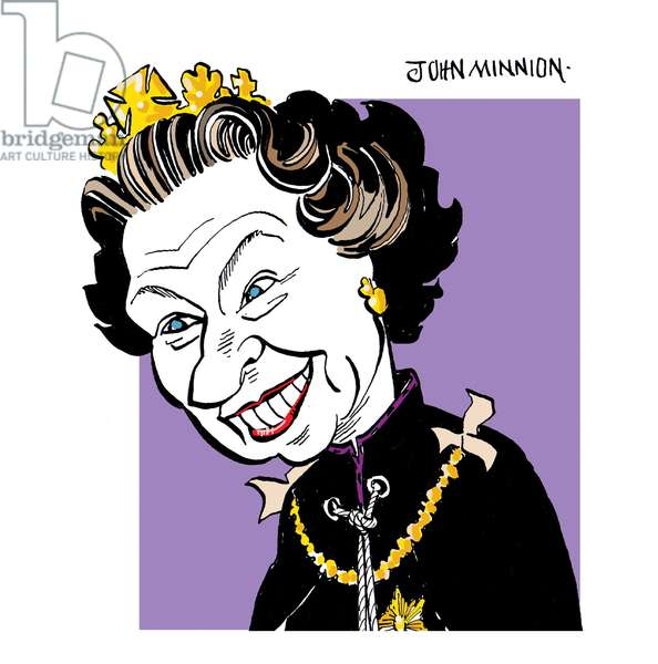 Queen Elizabeth II caricature by John Minnion