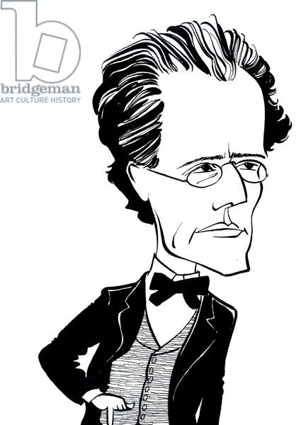 Gustav Mahler, caricature by John Minnion Austrian composer, 1860-1911