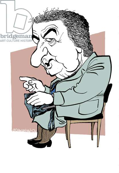 Golda Meir caricature, the fourth prime minister of the State of Israel (1969-1974): 3 May 1898 - 8 December 1978