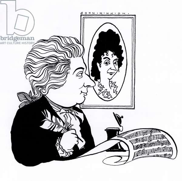 Wolfgang Amadeus Mozart sitting in front of a portrait of his wife Konstanze/ Constanze/ Constance  Weber composing score of music - caricature