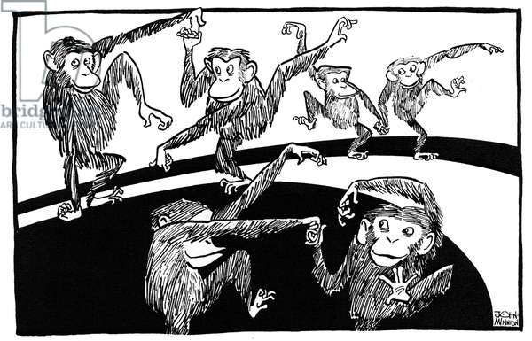 Chimpanzee Cha- cha caricature  by John Minnion
