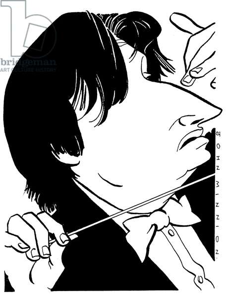 MUTI, Riccardo caricature by J Minnion Italian conductor b