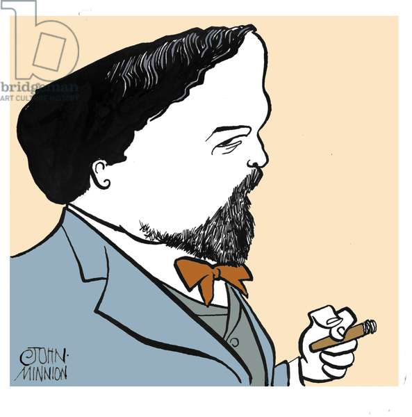 Claude Debussy, caricature by John Minnion French composer (1862-1918)