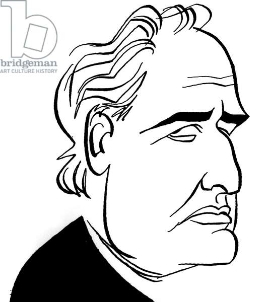 Marlon Brando, caricature by John Minnion