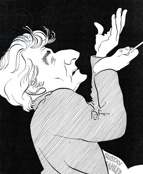 Leonard BERNSTEIN - Caricature by John Minnion Bernstein conducting Mahler