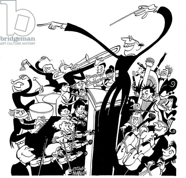 Orchestra and conductor - caricature by John Minnion