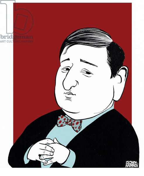 Erich Korngold - caricature by John Minnion Austrian composer, 1897-1957