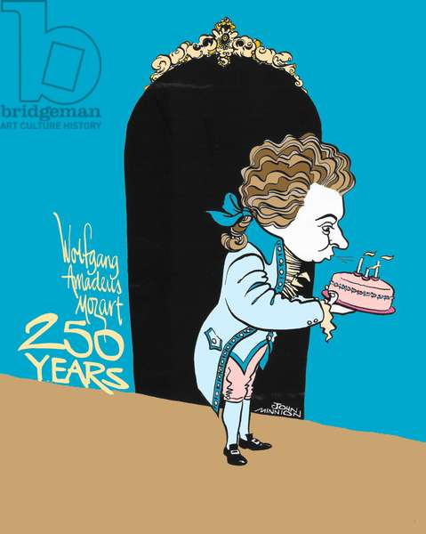 Wolfgang Amadeus Mozart blowing out candles on 250 th birthday cake - caricature