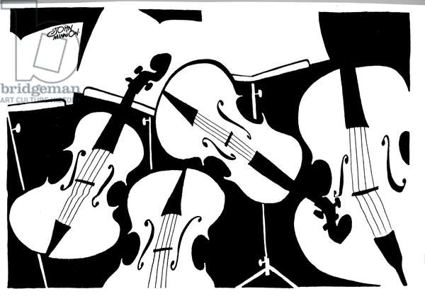 String Quartet - caricature by John Minnion