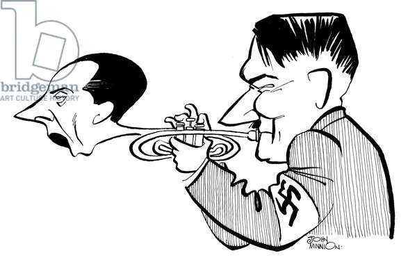 Hitler with a Trumpet in the shape of Goebbels - caricature by John Minnion