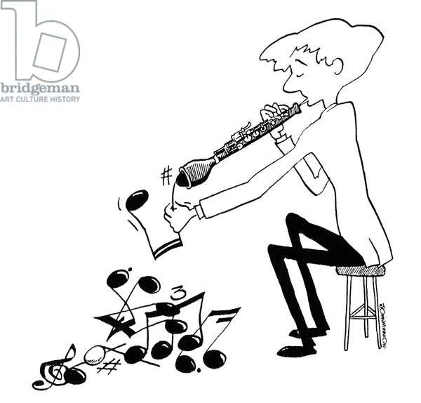 Cor Anglais Man playing Cor Anglais - extracting musical notes from end of the Cor Anglais