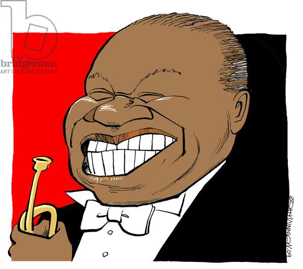 Louis Armstrong - caricature, playing his trumpet