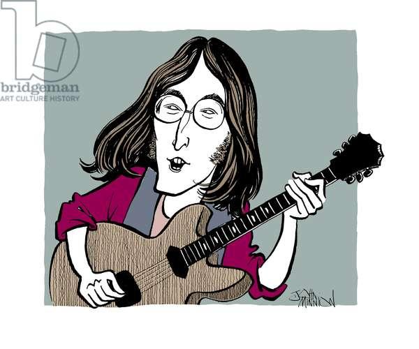 John Lennon caricature, English rock musician, singer, songwriter, artist, and peace activist: 9 October 1940 - 8 December 1980