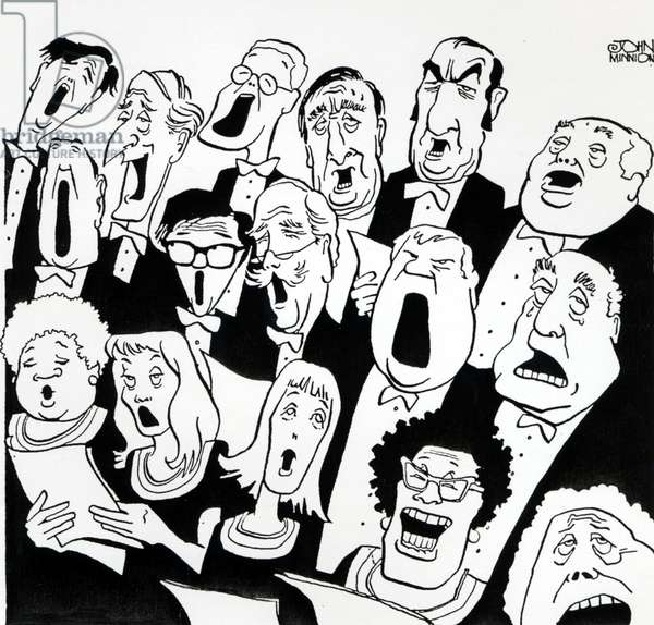 Caricature of choir singing
