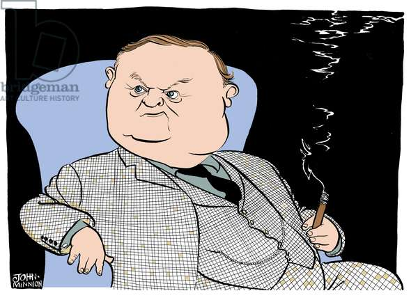 Evelyn Waugh, caricature by John Minnion