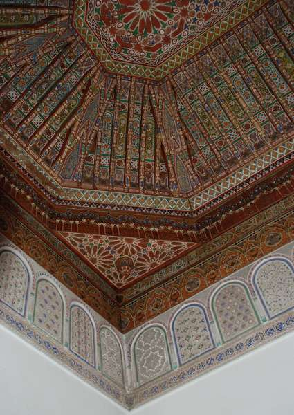 Painted and inlaid cedar roof interior, Bahia Palace, Marrakesh, Morocco. Built in the 19th century. Islamic/Moroccan style.