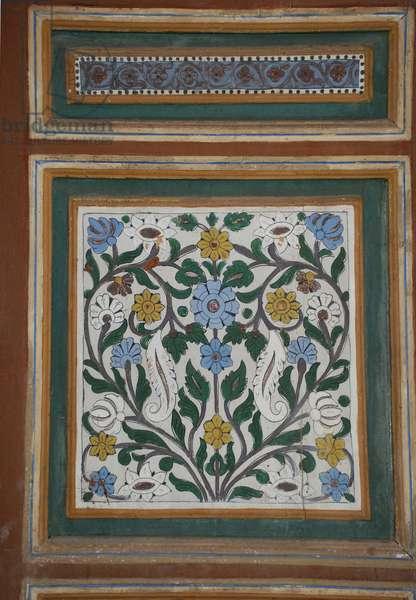 Ornamental panel. Bahia Palace, Marrakesh, Morocco, 19th century. Islamic. Floral design.