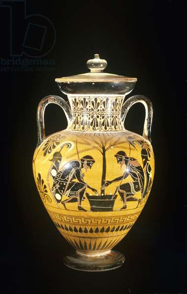 Black figure amphora. Ajax and Achilles playing dice.