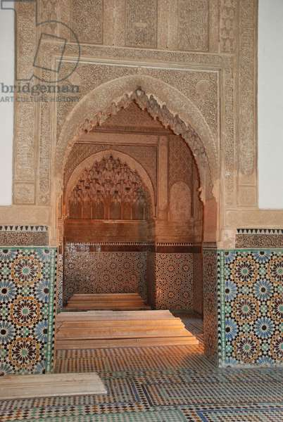 Muqarnas plasterwork archway from tomb of the mother of Ahmed el-Mansour ed-Dhabi Saadian Tombs, Marrakesh, Morocco