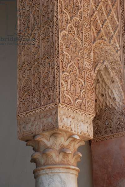 Muqarnas plasterwork archway from tomb of Ahmed el-Mansour ed-Dhabi, 1603 Saadian Tombs, Marrakesh, Morocco