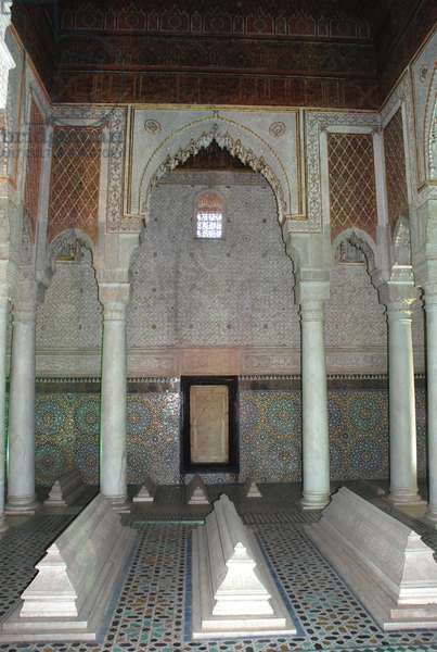 Chamber of the 12 pilars, Saadian Tombs, Marrakesh, Morocco Muqarnas plasterwork.