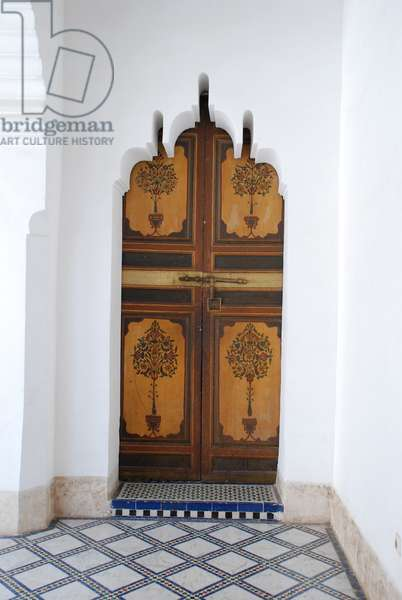 Internal doorway, Bahia Palace, Marrakesh, Morocco. 19th century. Islamic architecture.