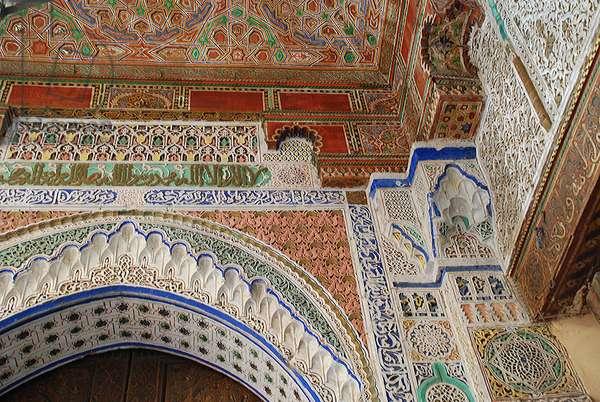 Ornate Merenid stucco work. Fes.  Morocco