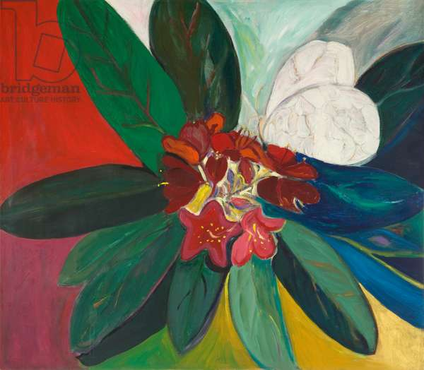 Rhododendron with Butterfly, 1987 (acrylic on canvas)