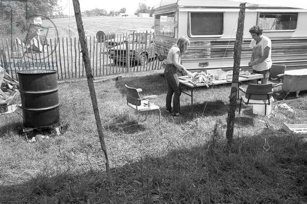 Glastonbury 89 Food Prep Gose Hall, 1989 (b/w photo)