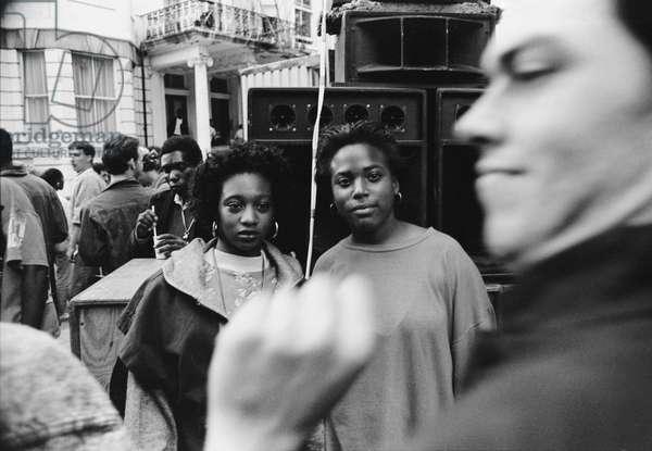 Notting Hill Carny Two Girls, 1989 (b/w photo)
