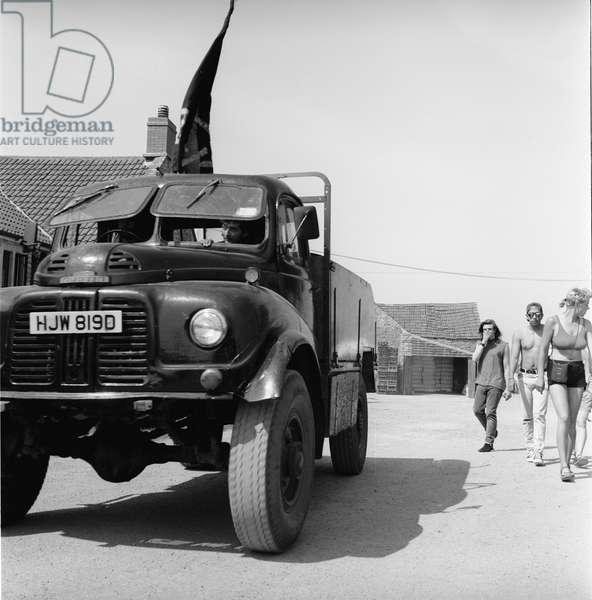 Glastonbury 89 Emmas Truck 1, 1989 (b/w photo)