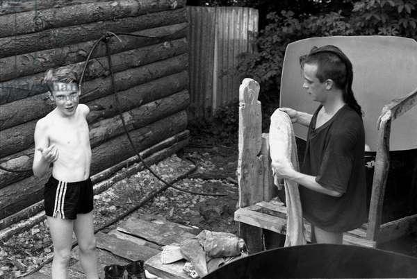 Glastonbury 89 Danny & Boy Hot Tubs, 1989 (b/w photo)