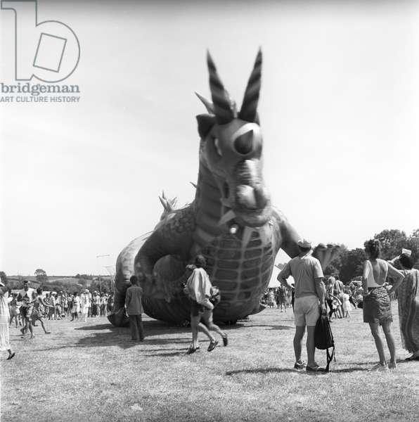 Glastonbury 89 Dragon 1, 1989 (b/w photo)