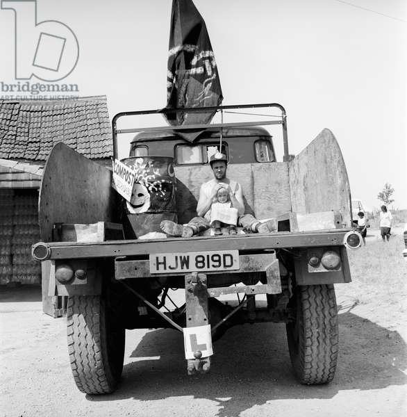 Glastonbury 89 Emmas Truck, 1989 (b/w photo)