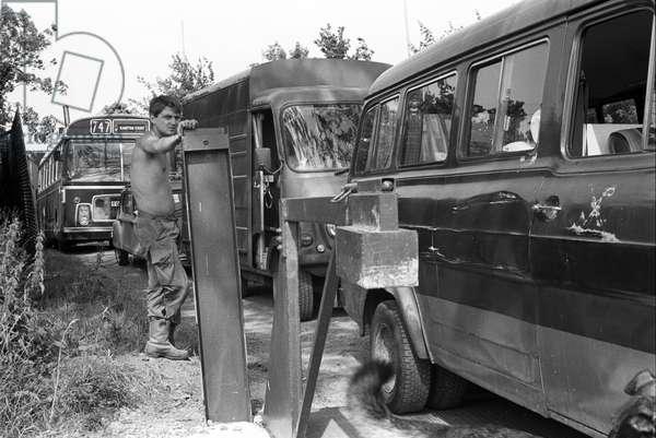 Glastonbury 89 Gate Crew, 1989 (b/w photo)