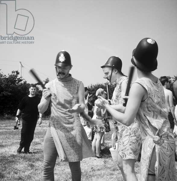 Glastonbury 89 Comedy Coppers BW, 1989 (b/w photo)