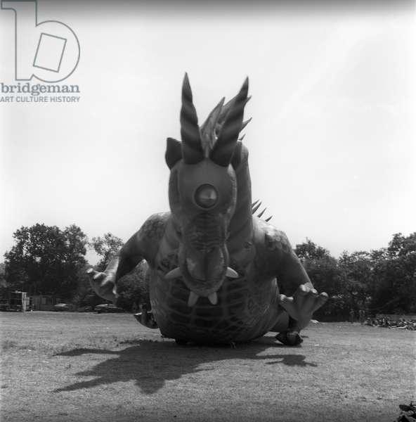 Glastonbury 89 Dragon 2, 1989 (b/w photo)