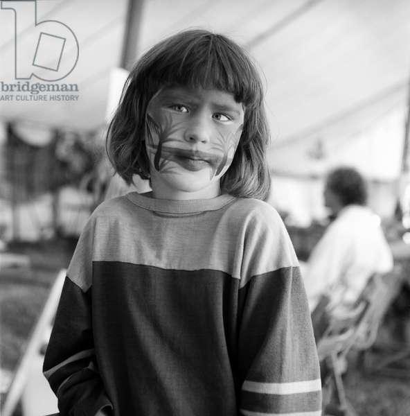 Glastonbury 89 Face Painted Girl, 1989 (b/w photo)