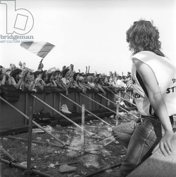 Glastonbury 89 Front Stage Pyramid, 1989 (b/w photo)