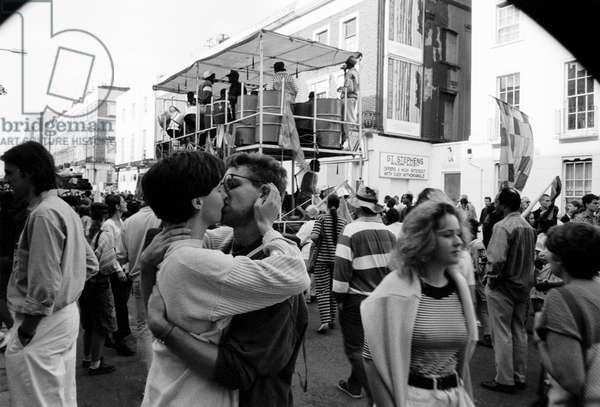 Notting Hill Carny Kiss, 1989 (b/w photo)