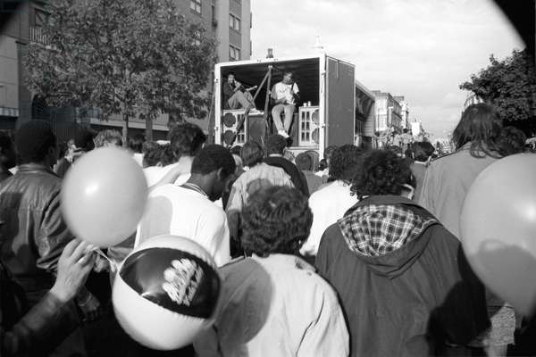 Notting Hill Carny Lorry System, 1989 (b/w photo)