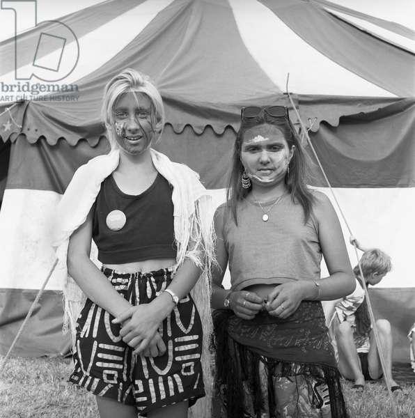 Glastonbury 89 Face Painted Girls, 1989 (b/w photo)