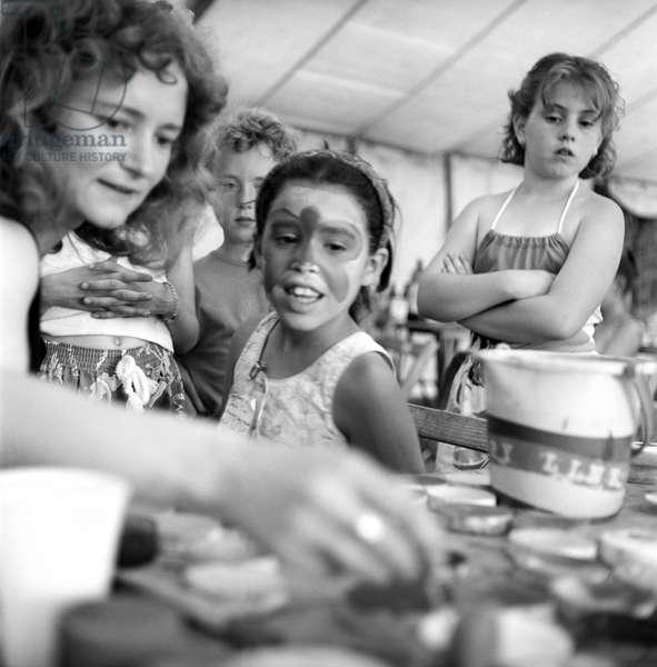 Glastonbury 89 Facepainting, 1989 (b/w photo)