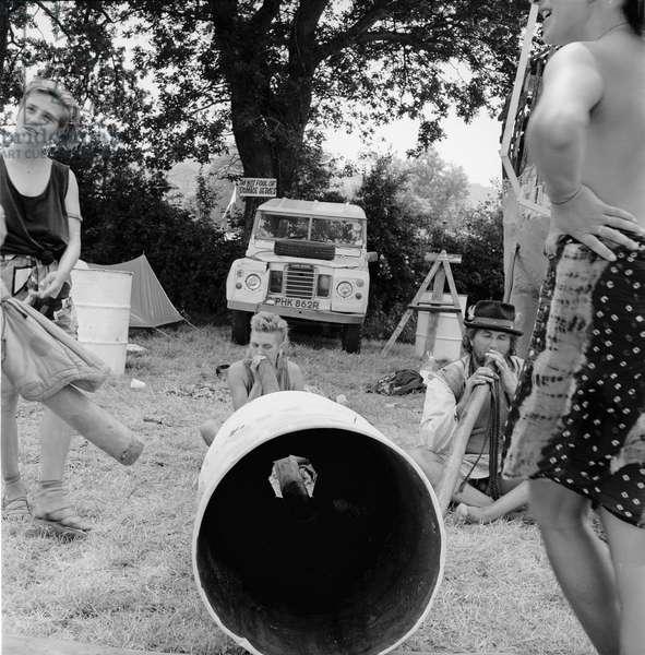 Glastonbury 89 Didgereedoo Drum, 1989 (b/w photo)