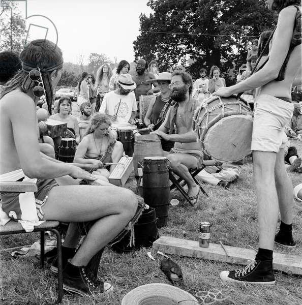 Glastonbury 89 Drum Workshop, 1989 (b/w photo)