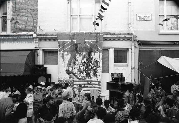 Notting Hill Carnival All Saints Rd, 1989 (b/w photo)